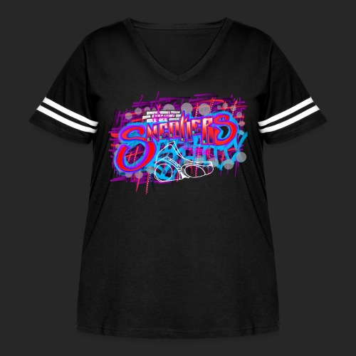 Sneakers Graffiti Design - Women's Curvy Vintage Sport T-Shirt
