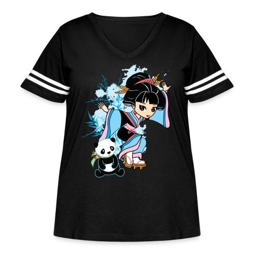 Cartoon Kawaii Geisha Panda Ladies T-shirt by - Women's Curvy Vintage Sport T-Shirt