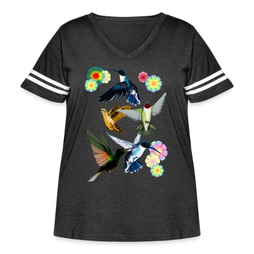 For The Love Of Hummingbirds - Women's Curvy Vintage Sport T-Shirt