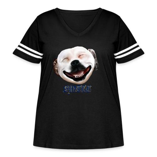Pit Bull Smile-Brightest - Women's Curvy Vintage Sport T-Shirt