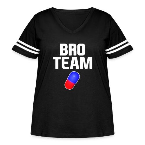 Bro Team White Words Logo Women's T-Shirts - Women's Curvy Vintage Sport T-Shirt