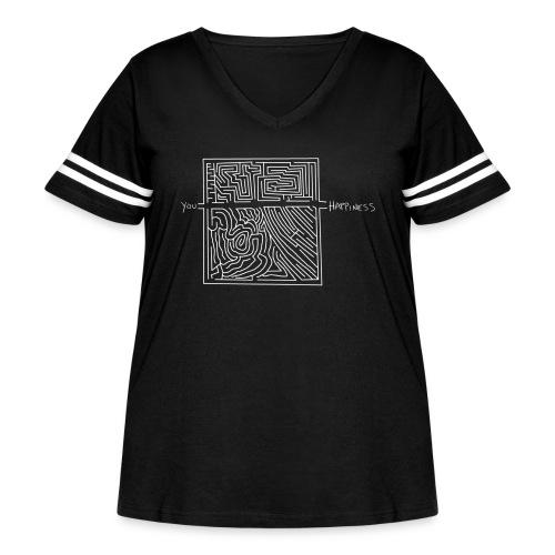 Happiness (White Print) - Women's Curvy Vintage Sport T-Shirt
