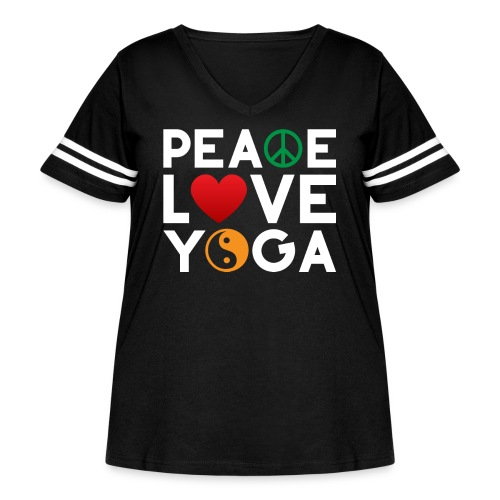 Peace Love Yoga - Women's Curvy Vintage Sports T-Shirt