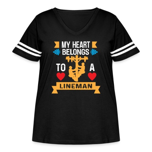 MY Heart Belongs to a Lineman - Women's Curvy Vintage Sport T-Shirt