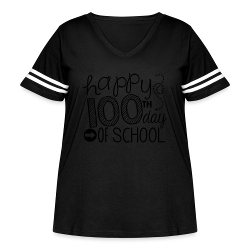 Happy 100th Day of School Arrows Teacher T-shirt - Women's Curvy Vintage Sport T-Shirt