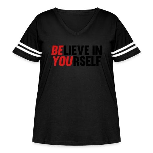 Believe in Yourself - Women's Curvy Vintage Sports T-Shirt