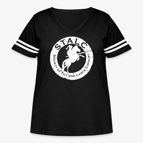 STALC Retro Logo WHITE - Women's Curvy Vintage Sport T-Shirt