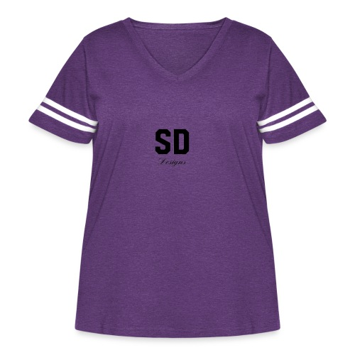 SD Designs blue, white, red/black merch - Women's Curvy Vintage Sport T-Shirt