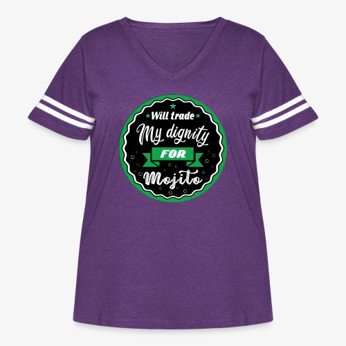 Will trade my dignity for mojito - Women's Curvy Vintage Sport T-Shirt