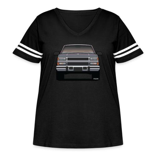 Design Icon: American Bowtie Silver Urban Truck - Women's Curvy Vintage Sport T-Shirt