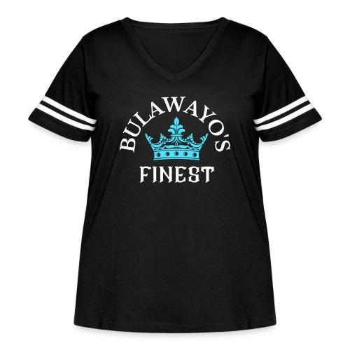 Bulawayo's Finest White print with Blue Crown - Women's Curvy Vintage Sport T-Shirt