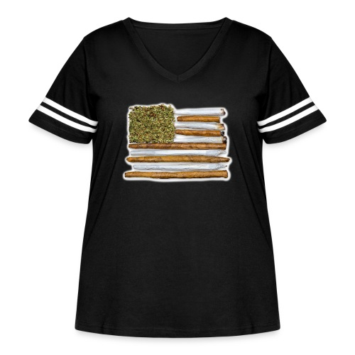 American Flag With Joint - Women's Curvy Vintage Sport T-Shirt