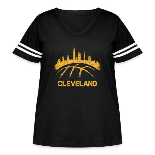 Cleveland Basketball Skyline - Women's Curvy Vintage Sport T-Shirt