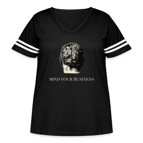 Mind Your Business Tee (V-Neck Unisex) - Women's Curvy Vintage Sport T-Shirt