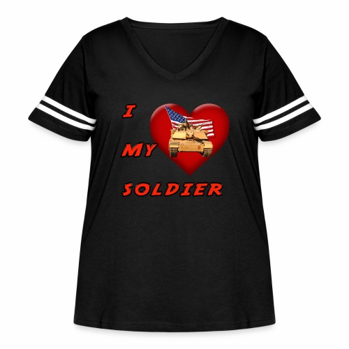 I Heart my Soldier - Women's Curvy Vintage Sports T-Shirt