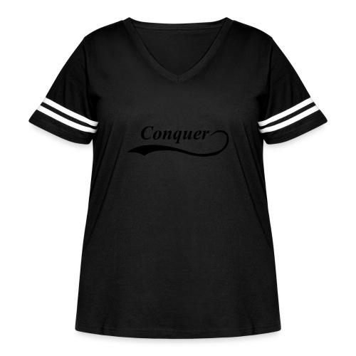 Conquer Baseball T-Shirt - Women's Curvy Vintage Sport T-Shirt