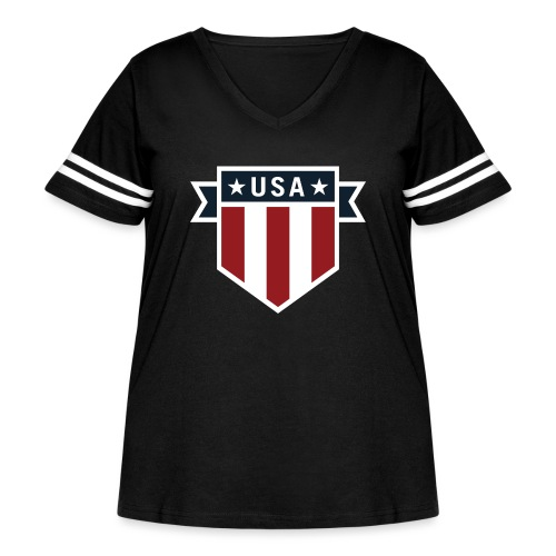 USA Pride Red White and Blue Patriotic Shield - Women's Curvy Vintage Sport T-Shirt