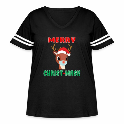 Merry Christmask Rudolph Red Nose Mask Reindeer. - Women's Curvy Vintage Sport T-Shirt