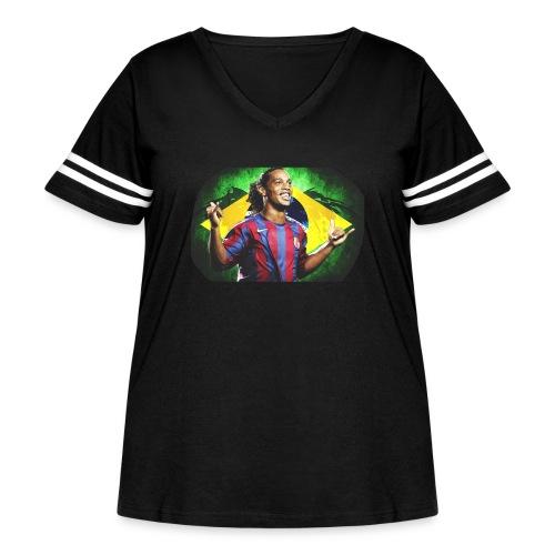 Ronaldinho Brazil/Barca print - Women's Curvy Vintage Sport T-Shirt