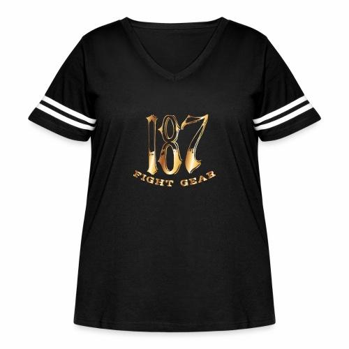 187 Fight Gear Gold Logo Street Wear - Women's Curvy Vintage Sport T-Shirt