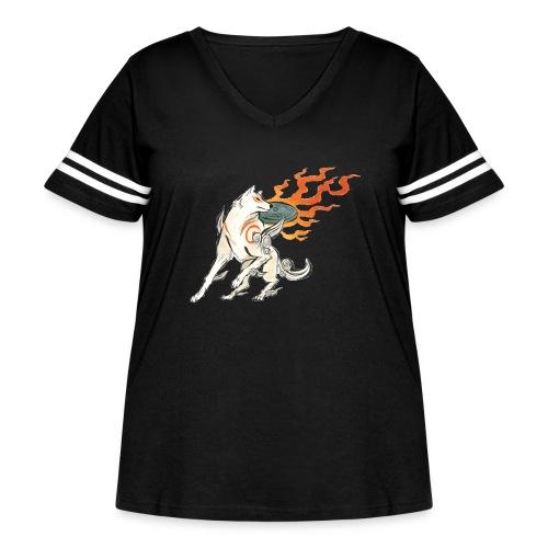 Fire wolf - Women's Curvy Vintage Sport T-Shirt