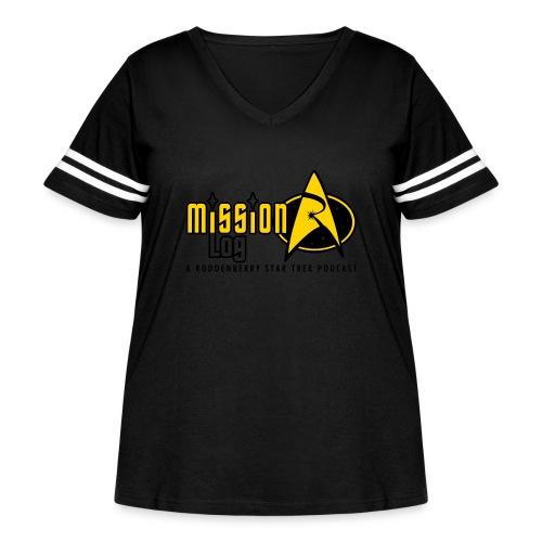 Logo Wide 2 Color Black Text - Women's Curvy Vintage Sport T-Shirt