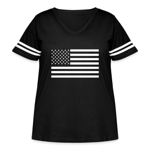 USA American Flag - Women's Curvy Vintage Sport T-Shirt