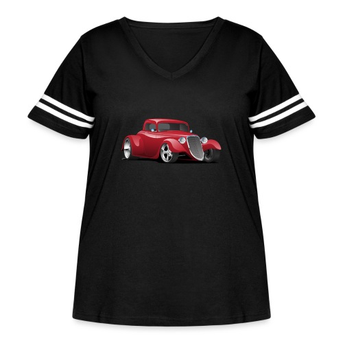 Custom American Red Hot Rod Car - Women's Curvy Vintage Sport T-Shirt
