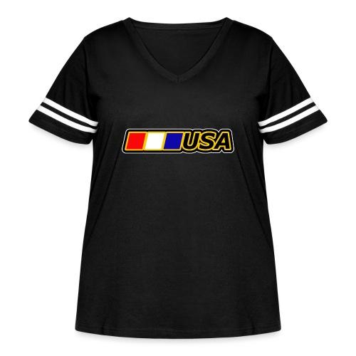 USA - Women's Curvy Vintage Sport T-Shirt