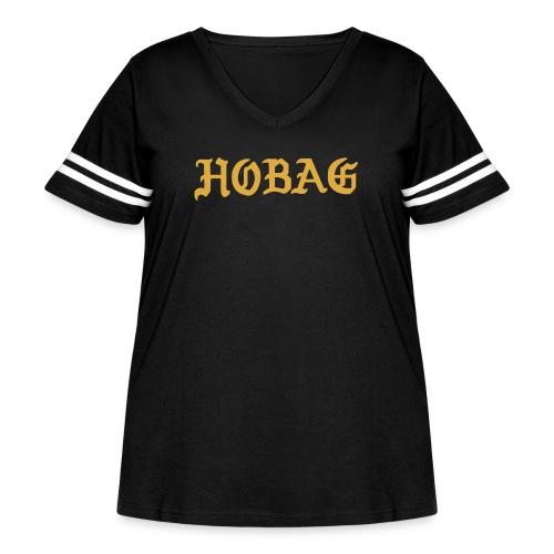 BLACK - HOBAG LETTERING - Women's Curvy Vintage Sport T-Shirt