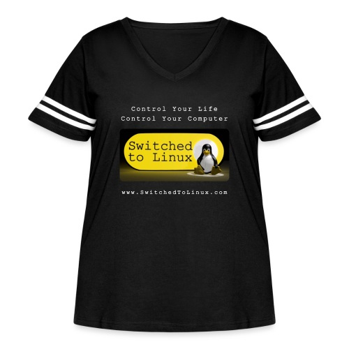 Switched To Linux Logo and White Text - Women's Curvy Vintage Sport T-Shirt