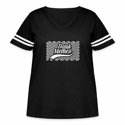 Dank Memes Striped Logo - Women's Curvy Vintage Sport T-Shirt