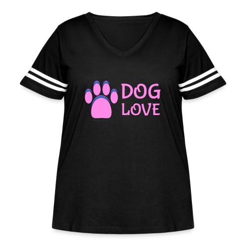 Pink Dog paw print Dog Love - Women's Curvy Vintage Sport T-Shirt