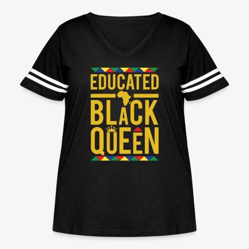 Educated Black Queen - Women's Curvy Vintage Sport T-Shirt