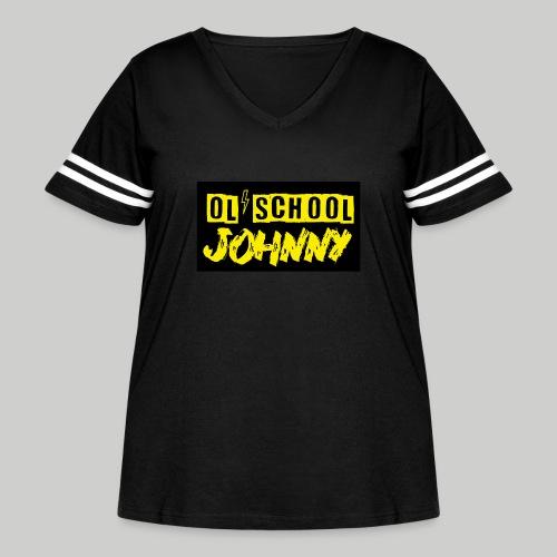 Ol' School Johnny Yellow Text on Black Square - Women's Curvy Vintage Sport T-Shirt