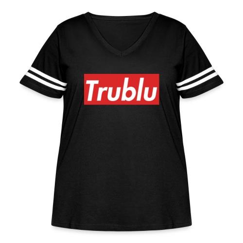 Trublu Red Box Logo(Big) - Women's Curvy Vintage Sport T-Shirt