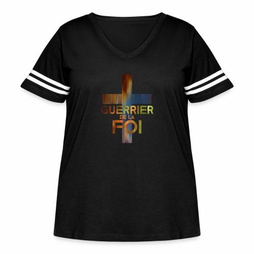 WARRIOR OF FAITH - Women's Curvy Vintage Sport T-Shirt