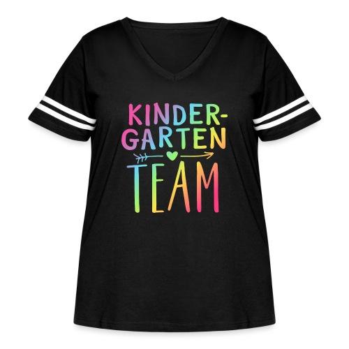 Kindergarten Team Neon Rainbow Teacher T-Shirts - Women's Curvy Vintage Sport T-Shirt