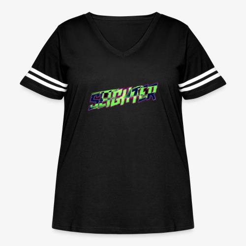 Retro Logo Glitch - Women's Curvy Vintage Sports T-Shirt