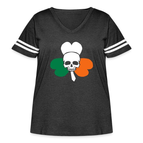 irish_skull_shamrock - Women's Curvy Vintage Sport T-Shirt