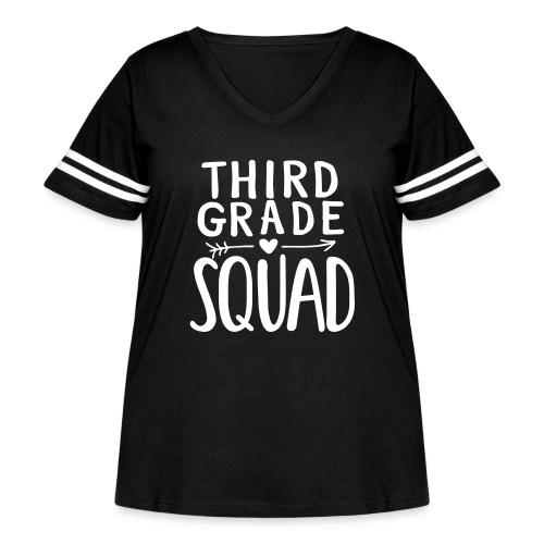 Third Grade Squad Teacher Team T-Shirts - Women's Curvy Vintage Sport T-Shirt