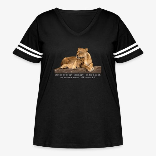 Lion-My child comes first - Women's Curvy Vintage Sport T-Shirt