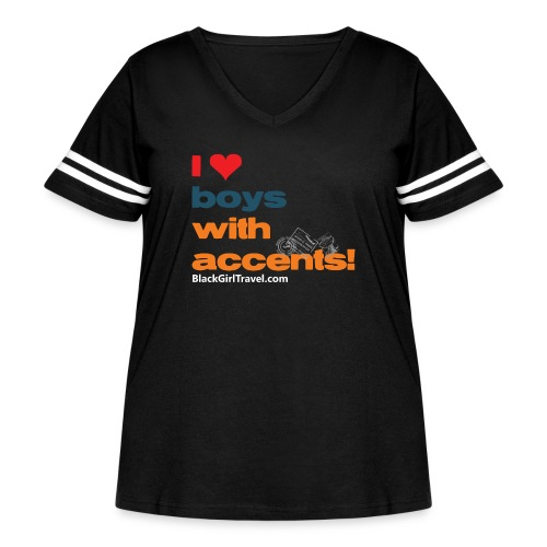 accentsWhite png - Women's Curvy Vintage Sport T-Shirt