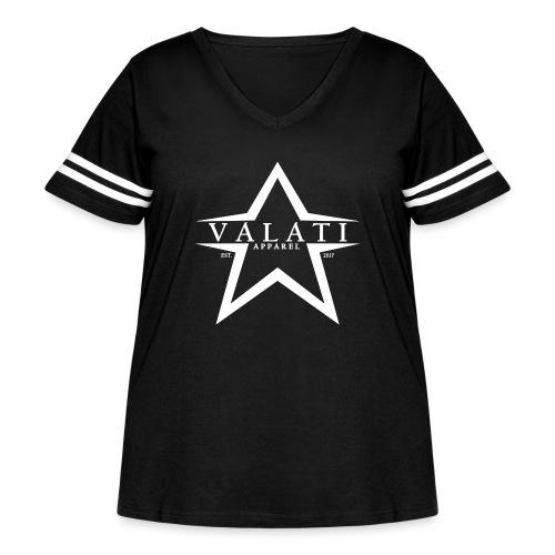 V-Star White - Women's Curvy Vintage Sport T-Shirt