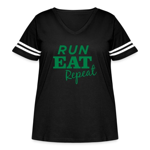 Run Eat Repeat buttons medium - Women's Curvy Vintage Sport T-Shirt