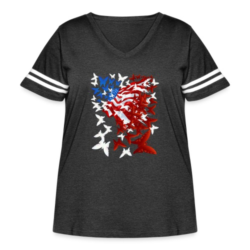 The Butterfly Flag - Women's Curvy Vintage Sport T-Shirt
