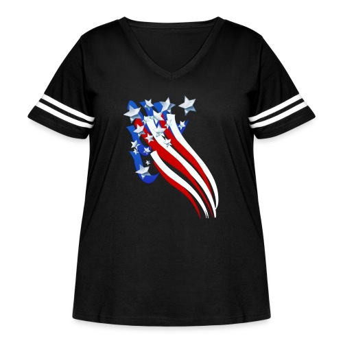 Sweeping Old Glory - Women's Curvy Vintage Sport T-Shirt