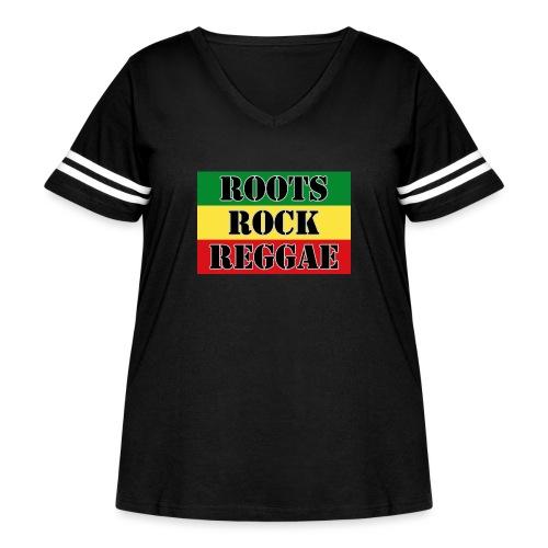 Roots, Rock, Reggae, dis a reggae music Rasta Flag - Women's Curvy Vintage Sport T-Shirt