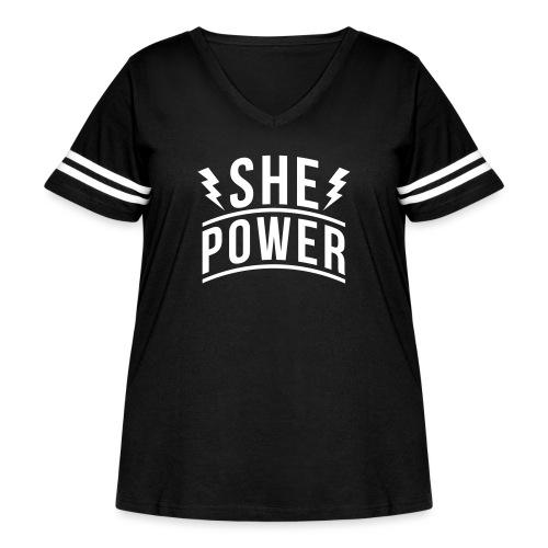 She Power - Women's Curvy Vintage Sport T-Shirt