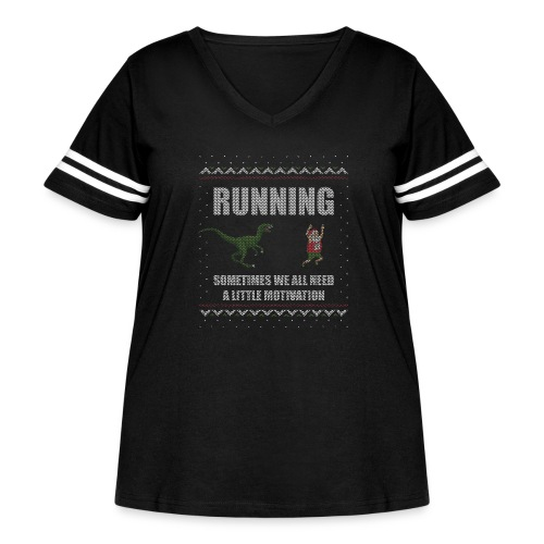 Ugly Christmas Sweater Running Dino and Santa - Women's Curvy Vintage Sport T-Shirt